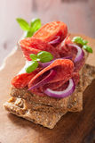 Crisp bread with salami and red onion Royalty Free Stock Photos