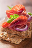 Crisp bread with salami and red onion Stock Images
