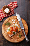 Crisp bread with Smoked salmon Royalty Free Stock Photo