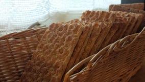 Crisp bread in wicker basket Royalty Free Stock Photo