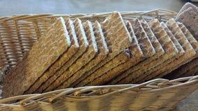 Crisp bread in wicker basket Stock Images