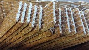 Crisp bread in wicker basket Stock Image