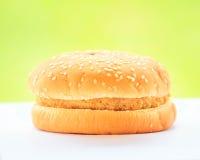Crisp chicken burger on green background Stock Photography