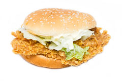 Crisp Chicken Burger With Lettuce. Stock Photography