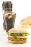 Crisp chicken burger with tomato onion cheese lett Royalty Free Stock Photo