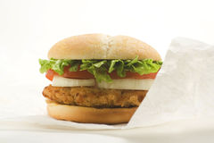 Crisp chicken burger tomato onion cheese lettuce Stock Photos