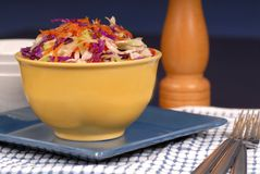 Crisp cole slaw in a yellow bo Stock Photo
