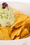 Crisp corn nachos with guacamole sauce Royalty Free Stock Photo