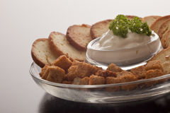 Crisp croutons and a savoury dip Stock Image