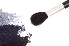 Crisp eyeshadow makeup and brush Royalty Free Stock Images