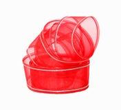 Crisp Fine Red Ribbon Silver Trim Royalty Free Stock Image