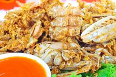 Crisp fried mantis-prawn and garlic serve with chili sauce royalty free stock images