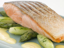 Crisp Fried Salmon Supreme with Cucumber Asparagus stock photo