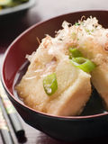 Crisp Fried Tofu in Miso with Bonito Flakes and Pi Stock Photo
