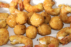 Crisp fry of fish. Battered shrimps and balls of salmon for a crisp fry of fish Stock Photo