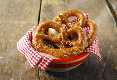 Crisp golden-brown pretzels Stock Photo