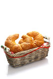 Crisp golden croissants in a basket Royalty Free Stock Photos