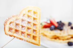 Crisp golden fresh baked waffle heart Stock Images
