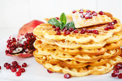 Crisp golden fresh baked waffle topped with pomegranate Royalty Free Stock Photo