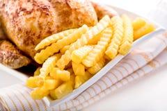 Crisp golden roast chicken Royalty Free Stock Photography