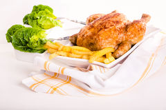 Crisp golden roast chicken Royalty Free Stock Images