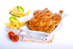 Crisp golden roast chicken Stock Photography