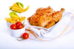 Crisp golden roast chicken Stock Photos