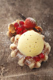 Crisp golden waffle with icecream Royalty Free Stock Photo