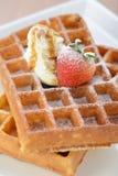 Crisp golden waffle Royalty Free Stock Photography
