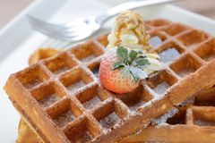 Crisp golden waffle Stock Image