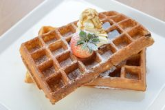 Crisp golden waffle Royalty Free Stock Photography