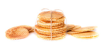 Crisp golden waffle wafer biscuits. Used for garnishing desserts on a white background Stock Photography