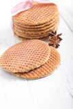 Crisp golden waffles with star anise spice Royalty Free Stock Photo