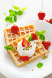 Crisp golden waffles, strawberries and cream. Garnished with fresh mint and sprinkled with sugar for a delicious summer dessert royalty free stock photos