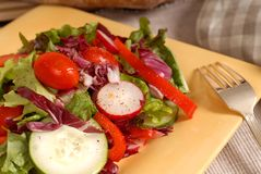 A crisp healthy salad with a fork on a yellow plate with rustic