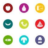 Crisp icons set, flat style. Crisp icons set. Flat set of 9 crisp vector icons for web isolated on white background stock illustration