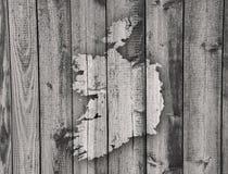 Map of Ireland on weathered wood. Crisp image of map of Ireland on weathered wood Royalty Free Stock Photo