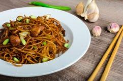 Crisp noodles with soy souce Stock Photos