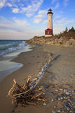 Crisp Point Lighthouse. The Crisp Point Lighthouse along the southern shore of Lake Superior in Michigans Upper Peninsula Stock Photo