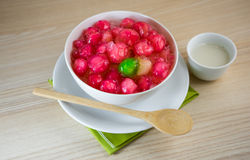 Crisp pomegranate seeds is traditional Thai sweetmeat Royalty Free Stock Photography