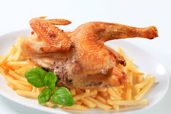 Crisp-skinned chicken with French fries Stock Photography