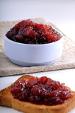 Crisp toast and jam in a bowl Stock Images