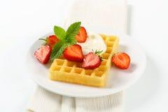 Crisp waffle with fresh strawberries Stock Photo