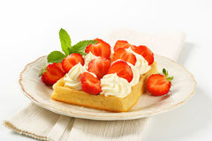 Crisp waffle with  strawberries and cream Stock Photo