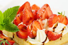 Crisp waffle with  strawberries and cream Stock Images