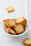 Crisp wheat bread croutons Royalty Free Stock Images