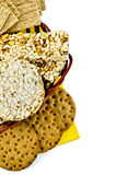 Crispbread in a basket Royalty Free Stock Photography