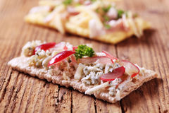 Crispbread and blue cheese Royalty Free Stock Image