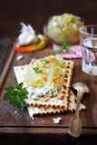 Crispbread with blue cheese and pickled sharp eggplant Royalty Free Stock Photography