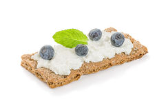 Crispbread with  cheese and blueberries Royalty Free Stock Photo